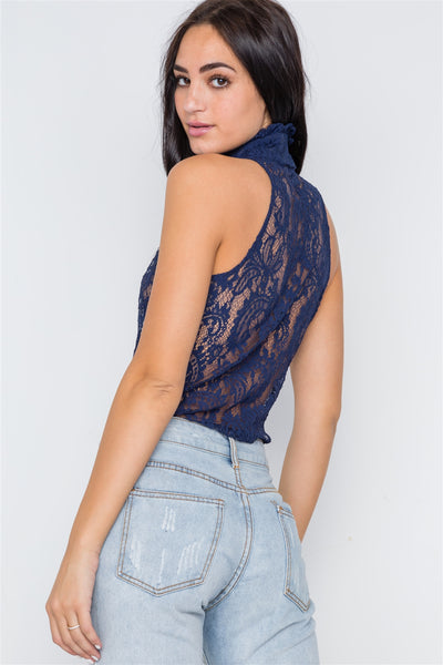 Navy Blue Mock-neck Sheer Button Down Lace Top