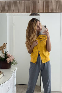 Mustard Vegan Leather Funnel Neck Faux Fur Lining Zip-up Vest