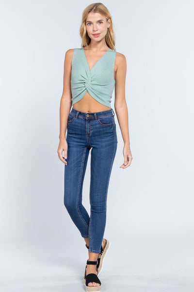 Sleeveless V-neck Twist Knot Knit Top