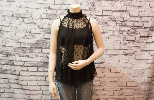 Lace Ruched Collar Top