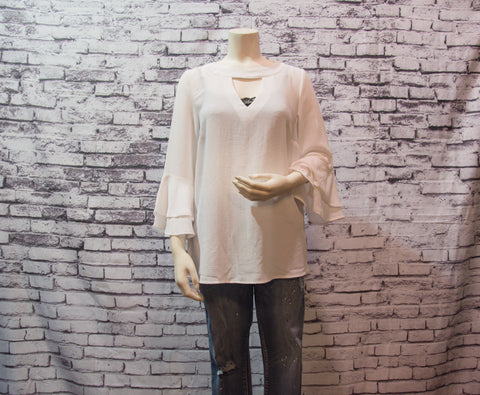 Keyhold Flare Sleeve Top