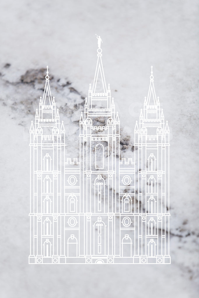 Salt Lake Temple | Salt Flats Detail Print
