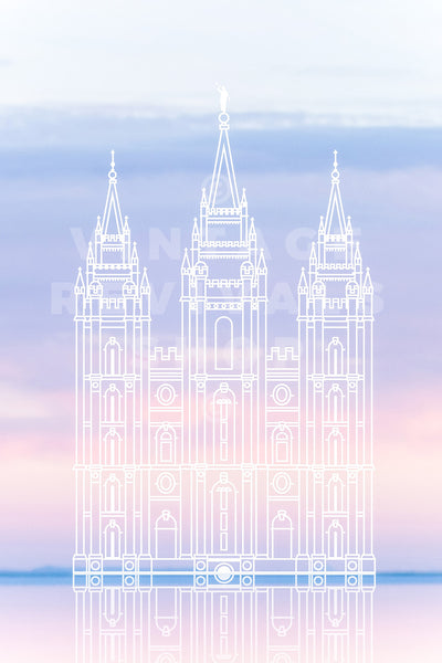 Salt Lake Temple | Bonneville Salt Flats Sunset Print