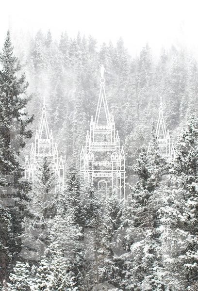 Salt Lake Temple | Snowy Wasatch Mountains Print
