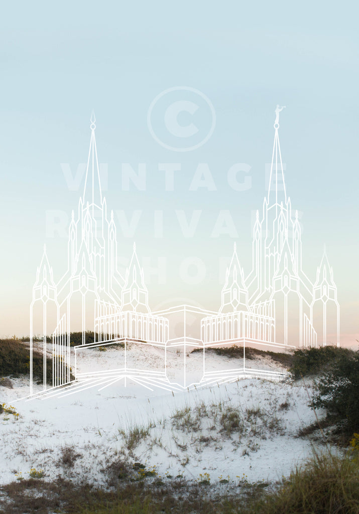 San Diego Temple | White Beach Print