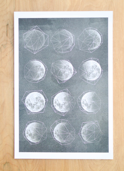 Geometric Moon Phases Print
