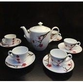 Minh Long 13 Piece Porcelain Tea Set - Hong Mai Flower Pattern