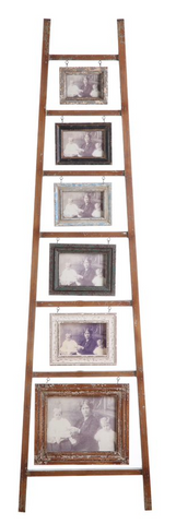 "Image of Wooden Photo Frame Ladder w/ 6 Frames, Photo Sizes: 3.5"" x 5"",4"" x 6"", 5""x 7"" & 8"" x 10"""
