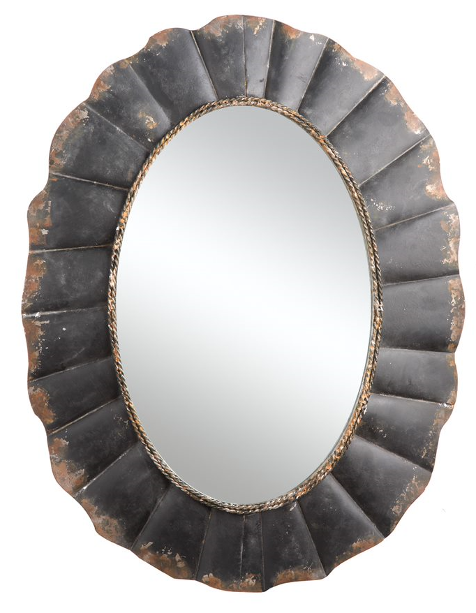 Metal Framed Mirror , Distressed Finish