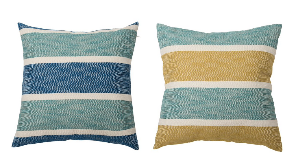 Striped Jacquard Knit Pillow w/Button
