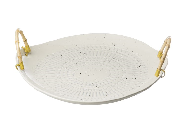 Stoneware Plate w/ Bamboo Handles