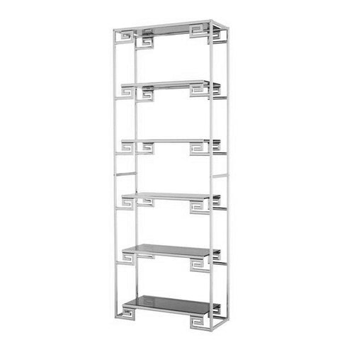 Shiny Stainless Steel Etagere with Clear Glass FINAL PRICE $503.20