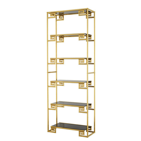 Brushed Gold Etagere with Black Glass FINAL PRICE $503.20