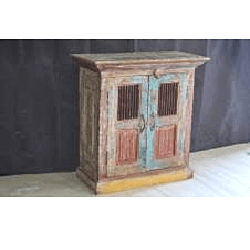 Wooden Iron Jali Door Cabinet