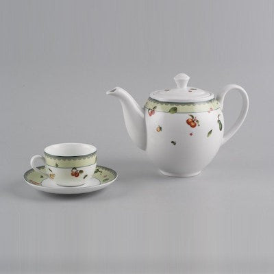 Image of Minh Long 13 Piece Porcelain Tea Set - Summer Ripe Pattern