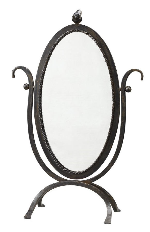 Metal Framed Mirror w/ Bird On Top
