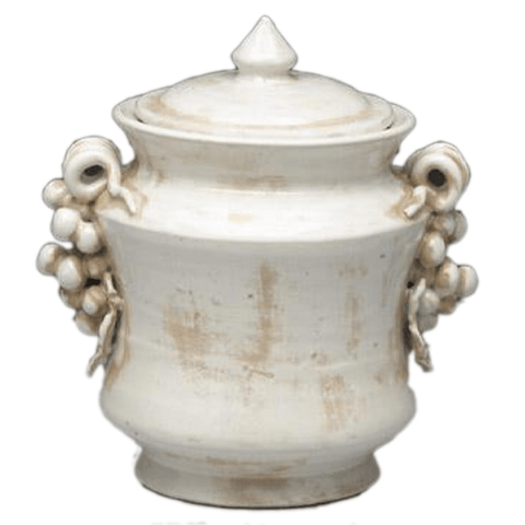 Ivory Colored Urn with Lid - taylorbdesign.com