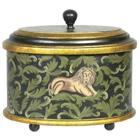 Hand Painted Oval Box with Elephant & Lion