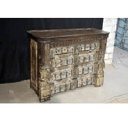 Wooden Carved Old Door Bar Counter