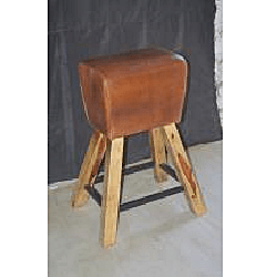 Wooden Iron Leather Bar Stool