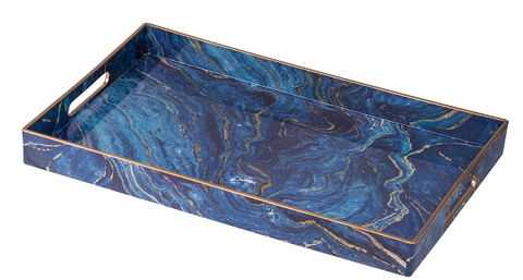 Image of Modern Chic Blue Rectangular Tray