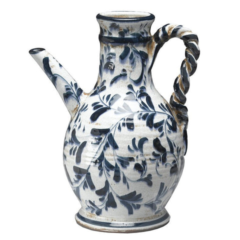 Italian Style Ceramic Pitcher Blue and White Decorative Pattern