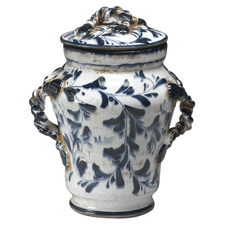 Italian Style Ceramic Lidded Jar Blue and White Decorative Pattern