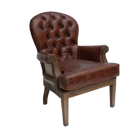 Chair in leather with old showwood frame