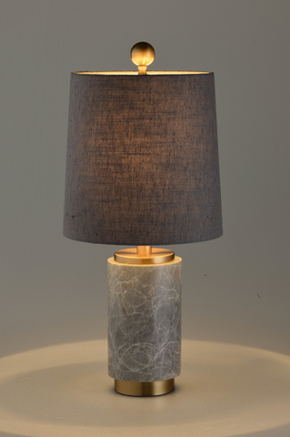 Grey Marble Cylindrical Table Lamp