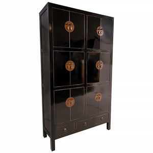 12 Door 3 Drawer Tall Cabinet Black