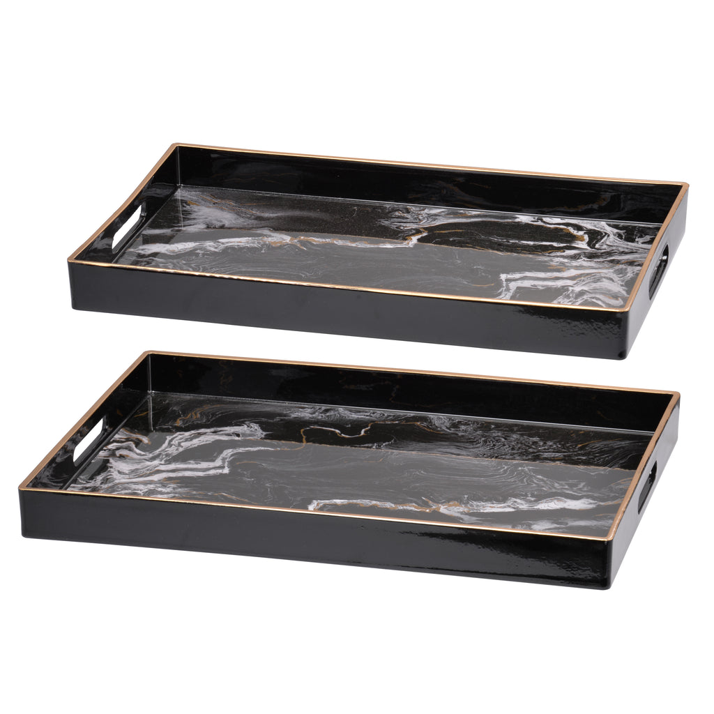 Effra Rectangular Tray,Black Marbled