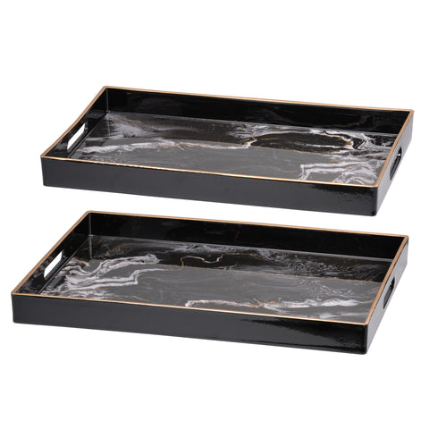 Image of Effra Rectangular Tray,Black Marbled