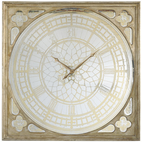 Old World Gold Mirrored Wall Clock
