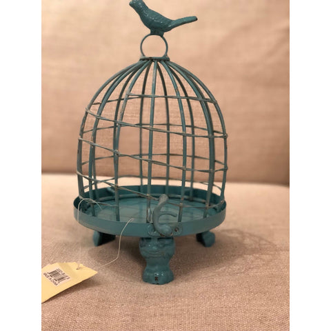 Image of Stella Decorative Birdcages with Bird Finial -BLUE SMALL