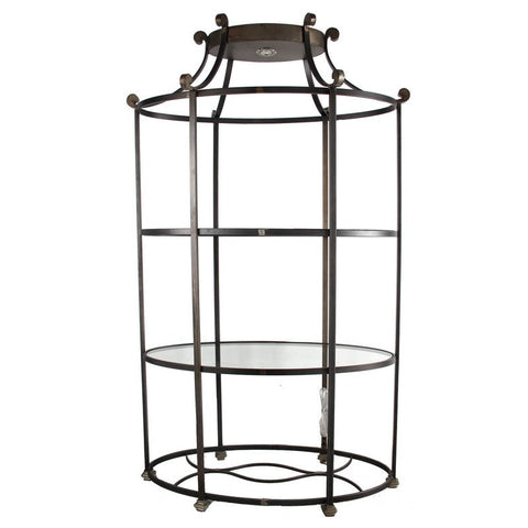 Oval Metal and Glass Etagere