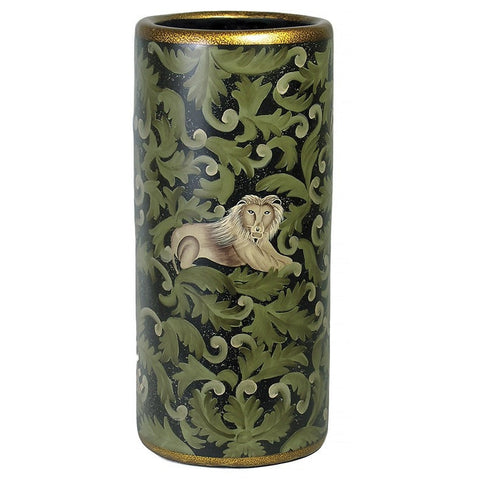 Hand Painted Umbrella Stand with Elephant and Lion
