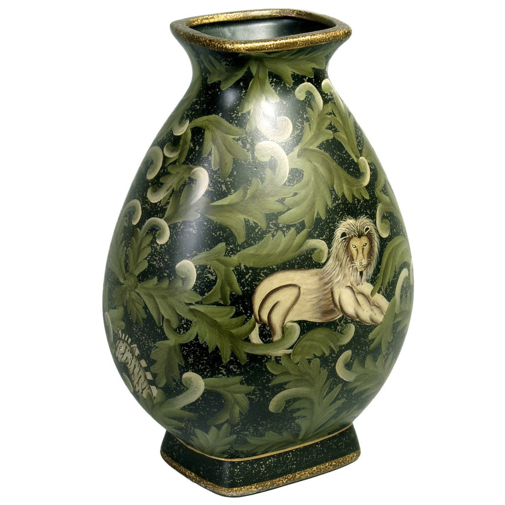 Hand Painted Vase with Elephant and Lion