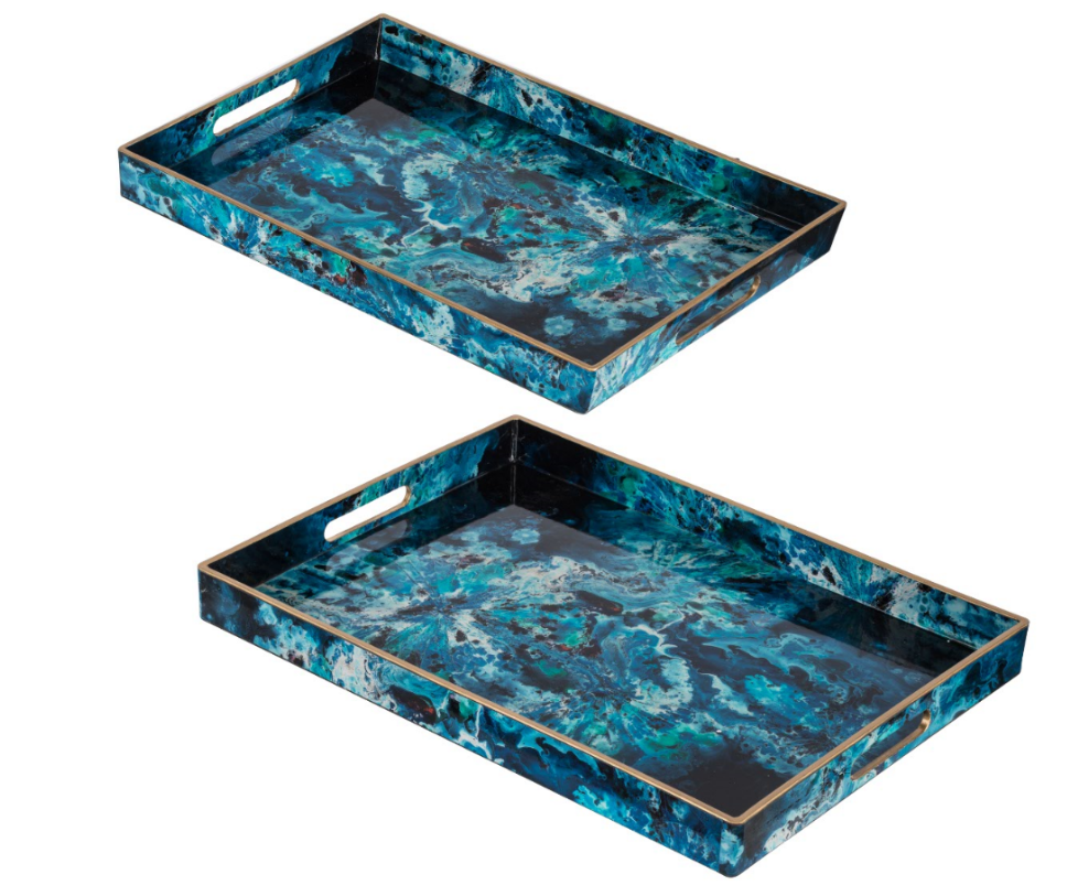 Abstract Blue Rectangular Tray