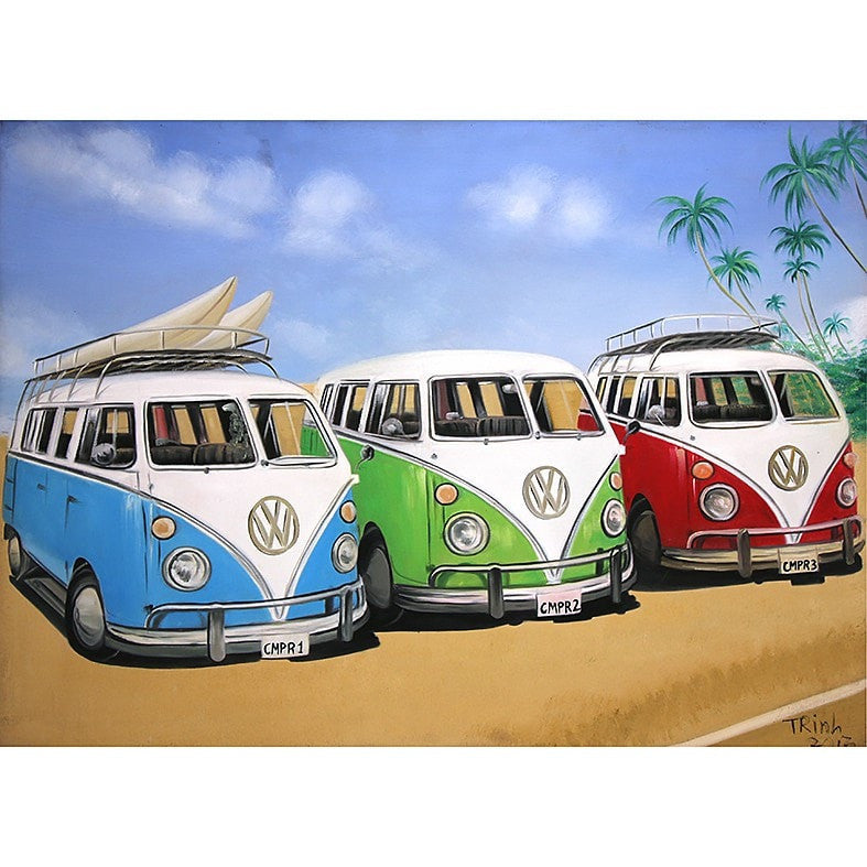 Volkswagen Vans at the Beach Oil Painting 60x80 UNFRAMED