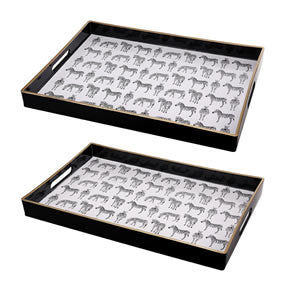 Quinn Rectangular Trays Zebras LARGE