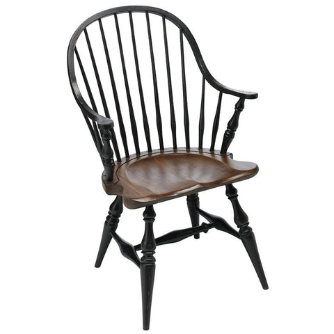 Windsor Arm Chair Natural Wood Seat With Black Finish