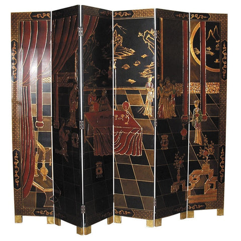 Hand Painted 6 Panel Chinoiserie Style  Screen