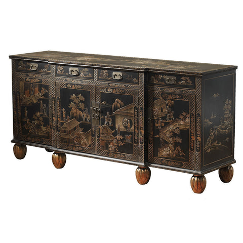 Intricately Hand Painted Chinoiserie Style Sideboard