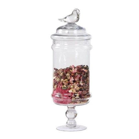 Image of Glass Container with Bird Lid (S/M/L)