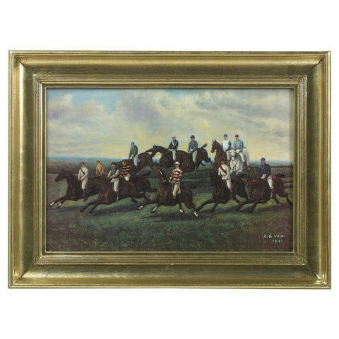 English Horseback Riding Scene in Metallic Gold Frame
