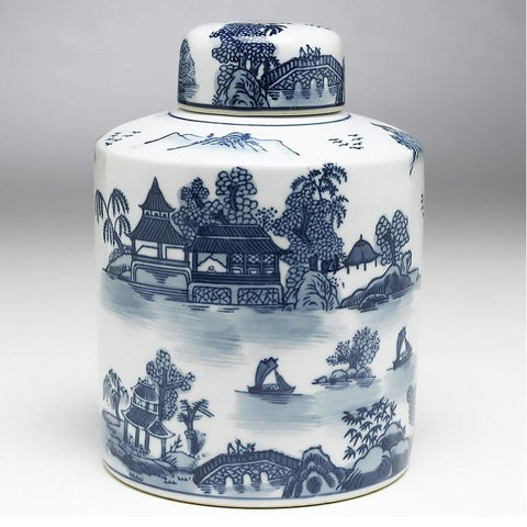 Blue and White Lidded Jar 8 inch