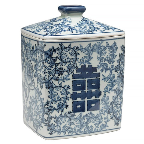 Rectangular Blue and White Lidded Jar 7.5 inch