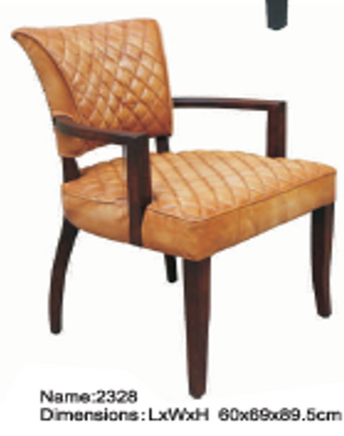 Dining Chair in Leather with Diamond Stitches