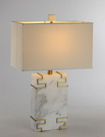 White Marble Empire Table Lamp