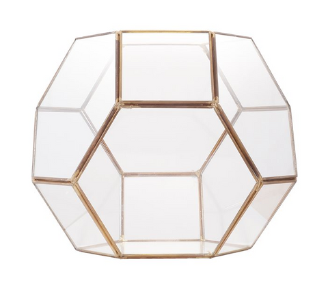 Honeycomb Brass Edge Terrarium, Gold
